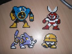 Megaman perler bead figures by SweBJ on deviantART