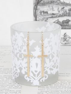 Altar'd State Cross Dangles in Gold