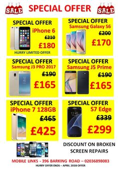 """""""SPECIAL OFFER ON MOBILE PHONES & REPAIRS""""  Walk In To Our Store """"Mobile Links""""for Special Offers at 396 Barking Road, E13 8HJ, East London  Phone - 02036898083    Offer Features:-   > Discount on Mobile Phones  > Discount on Screen Repairs  > No Fix No Fee !  > Free Tempered Glass on Screen Repairs  > Free Consultation on Any Repairs    HURRY.. OFFER ENDS ON 30th APRIL 2018 !!"""