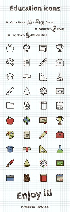 In need of Free Education Icons? Check out this set we bring you today! This education icons set were inspired in our Color Line Icon set and it is available in 5 different sizes, 2 different styles (line and Color line) and vector files in Ai and SVG format.