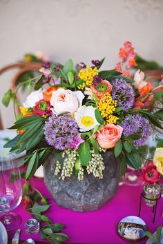 Colorful and modern floral centerpiece  | photos by Ceebee Photography | 100 Layer Cake