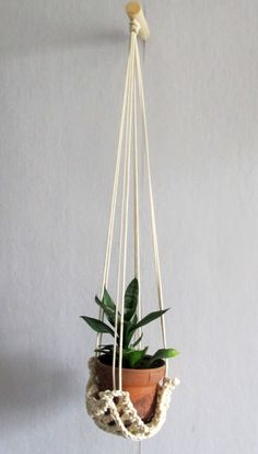 Original Hanging Planter, Plant Hanger with Wood Hook, Plant Holder Hammock, Boho Decor by Vishemir on Etsy Crochet Hammock, Aspen Wood, White Plants, Vintage Vases, Macrame Patterns, Plant Holders, Hanging Planters, Wall Hooks, Boho Decor