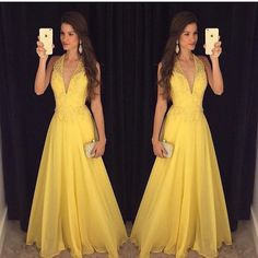 Deep V-neck Yellow Beading Prom Dresses, Long Party Dress SP3016