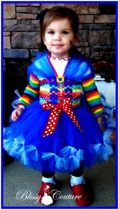 Rainbow Bright Tutu Petti Dress Halloween Costume by www.BlissyCouture.com