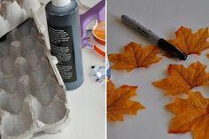 Des cartons d'oeufs et des feuilles pour bricoler une déco d'automne magnifique avec les petits!