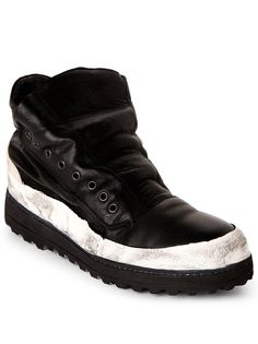 990c673c731559 Masnada Black Leather Vibram Lug Sole High Top Sneaker Size 10.5 - Hi-Top  Sneakers