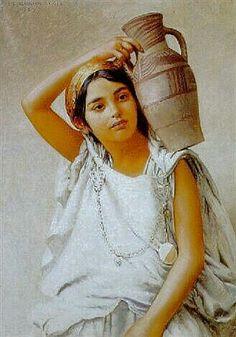 Algérie - Peintre Suisse, Jules Blancpain(1860–1914), Huile sur toile 1897, Titre :Jeune Kabyle à la cruche