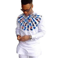 African Shirts For Men White Patchwork O-Neck Dashiki Kitenge Tops African Clothing  #shoppingkenya #tanzanianbeauty #dresseskenya #kenya #clothing #nairobi #lestyleparfaitkenya #tanzanianfashion #kenyan #onlineshoppingkenya
