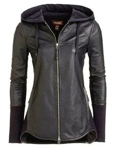 Adorable black leather jacket for winter