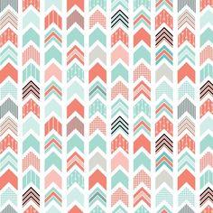 Chevron Arrow Pointer - Coral, Blue, Black fabric by ebygomm on Spoonflower - custom fabric Aztec Pattern Wallpaper, Chevron Azul, Fabric Design, Pattern Design, Arrow Fabric, Spoonflower Fabric, Wallpaper Iphone Cute, Bandeau, Black Fabric