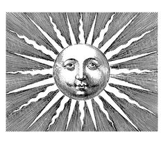 vintage illustration of sun with winsome face #etsy #etching $1.80 on Etsy