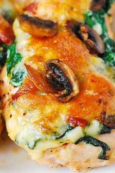 Smothered Chicken with Creamed Spinach, Bacon, Mushrooms