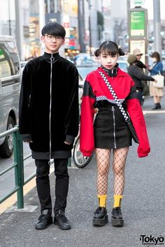 Red & Black Harajuku Street Styles w/ Creepers & Fishnets, OpenTheDoor & Spinns