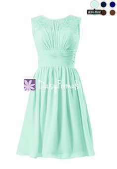 Short Mint Lace Bridal Party Dress Mint Green Vintage Chiffon Formal Dress  (BM2529) Mint 931231b905fe