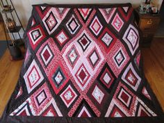 Pink and Brown Lattice Quilt with Two Pillow by threadandpatch, $235.00
