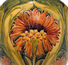William Moorcroft, Cornflower, a large vase in the English Arts & Crafts style (c. 1913).
