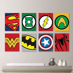 Superhero Logo Print Set - Superhero Wall Art Nursery Boy Superman Flash Green Lantern Batman Captain America - You Pick the Size (NS-446) on Etsy, $60.00