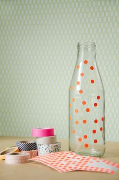 diy dotted jar { Styling by Studio Sjoesjoe, photography by Anniek Gelissen }  Use etching paste = frosted glass