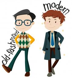 Men wearing old-fashioned and modern clothes vector image on VectorStock English Reading, English Study, English Class, Learn English, English Teaching Resources, English Activities, Language School, Sign Language, Vocabulary Cards
