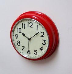 Retro Home Clocks. Red & Cream Indoor / Kitchen Wall Clock by The Emporium Clocks, http://www.amazon.co.uk/dp/B006FYMIFA/ref=cm_sw_r_pi_dp_T.pdtb0K472Z9/278-7645404-2893434