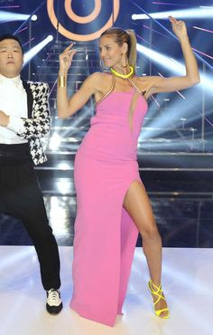 Heidi Klum wearing Atelier Versace Spring 2013 Pink Gown and Jimmy Choo Lance Sandals in Neon Yellow.