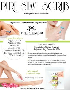 Pure Shave Scrub reduces ingrown hairs, razor bumps, and dark spots caused by razor shaving. Skin-nutrient oils create an amazing razor glide that protects against razor irritation, while sugar crystals exfoliate dead skin cells and unclogs pores. Ingrown Hair Armpit, Armpit Rash, Skin Care Regimen, Skin Care Tips, Lemon Body Scrubs, Razor Burns, Oil Free Makeup, Hair Essentials, Tea Tree Essential Oil