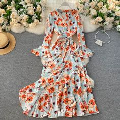 Color : Blue-Red Floral, Red-Blue Floral, Blue-Floral Floral, Black-Red Floral, Yellow-Blue Floral, Apricot-Pink Floral Material : Polyester, Acrylic Style : Casual Pattern Type : Floral Neckline : V-Neck The post Floral Wrap Flare Sleeve A-line Ruffles Boho Print Long Maxi Dress appeared first on TD Mercado. Backless Mini Dress, Halter Maxi Dresses, Pink Party Dresses, Girls Party Dress, Dress For Short Women, Fashion Styles, Fashion Women, Floral Outfits, Boho