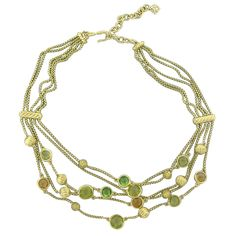 David Yurman Multi Strand Citrine Peridot Gold Necklace