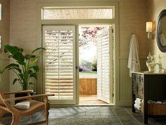 Hunter Douglas Palm Beach™ polysatin shutters with Palmetto™ Custom Shutters, Vinyl Shutters, Interior Shutters, Window Shutters, Window Blinds, Contemporary Window Treatments, Contemporary Windows, Door Coverings, Door Window Treatments