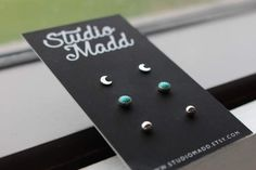 Earring Set // This listing is for: (1) PAIR of crescent moon studs (1) PAIR of 4mm turquoise studs (1) PAIR of sterling silver ball studs Earring Stud Set. Perfect for everyday wear. 4mm turquoise stones will vary in color and pattern.