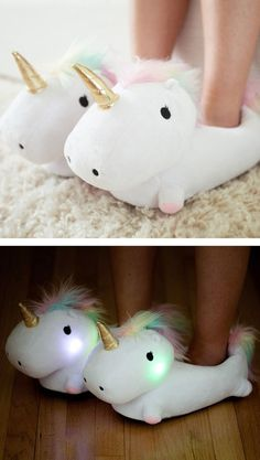 Unicorn light up slippers #gift #christmas