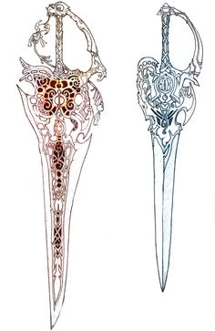 """-WPN ARTSMITHING COMMISSION- fantasy decorated blade CLIENT: a blade representing a marvelous winged creature the hue of the sword following the color of the creature itself. one set with """"Bifrost""""..."""