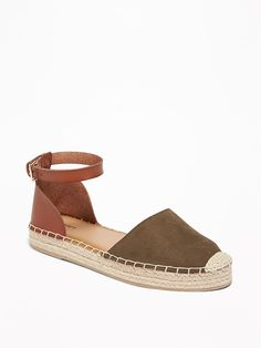 Old Navy Women's Faux-Suede/Faux-Leather Ankle-Strap Espadrilles Olive Regular Size 11 Gold High Heel Sandals, Pointed Toe Flats, Strap Sandals, Navy Espadrilles, Bohemian Sandals, Chelsea Ankle Boots, Shoe Deals, Summer Shoes, Summer Wear