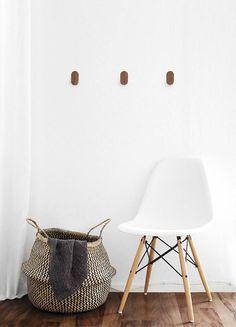 Walnut Wall Hooks Modern Minimal Wooden Wall Decor