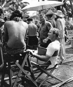 marlonbrando: Marlon Brando and Tarita Teriipia on the set of Mutiny on the Bounty, 1961.