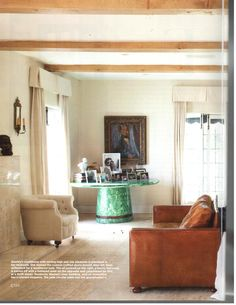 Love the jade circular table in the corner of the room filled with pictures.