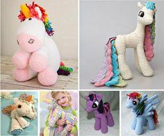 Idéias de Unicórnios de crochê. #artesanato #artesanatobrasil #crochet #crochê #unicornio #bichinhos