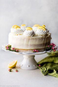 Moist lemon cake with creamy lemon cream cheese buttercream frosting!