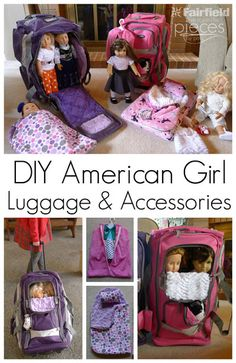 """DIY free doll accessories sewing pattern and tutorial - http://shannonfabrics.com/blog/2016/04/11/cuddle-doll-clothes-garment-bag/ Sleeping bag, garment bag, Duffle Bag Roller to a Doll Suitcase DIY - for 18"""" dolls and American Girl® Doll made with Cuddle http://www.shannonfabrics.com/ @PiecesByPolly @fairfieldworld"""
