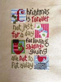 completed cross stitch Lizzie Kate Christmas is forever