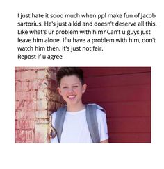 Stop the hate for Jacob!!!! people who bully him are just jealous because they suck and he's boss