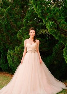 Mine!! We love this stunning blush gown from @J J Kelly Bridal that The Wedding Belle included in her tabletop. Photo by Beautiful Day Images. #wedding #weddingdress #bridalgown #blush