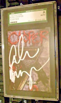 ALICE COOPER-AUTOGRAPHED SIGNED WELCOME TO MY NIGHTMARE 2 CUT -SGC SLABBED-