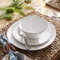 Marin White Dinner Plate | Crate and Barrel