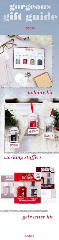 Find the perfect present for every woman on your list with essie's holiday gift guide! Treat your girls to a glitzy surprise with the 2015 holiday kit, featuring four mini nail polishes in one perfect package. Deck the halls with festive stocking stuffers. Or give the gift of gel-like color and shine with a gel•setter combo kit. With on-trend shades that are so right for winter, this year is sure to be very merry.