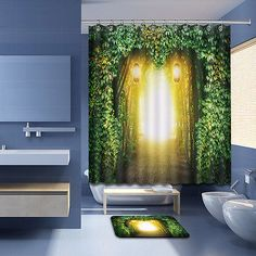 """72//79/"""" Fabric Shower Curtain Set Big Jellyfishes and Diver in Fantasy Underwater"""