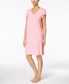 Miss Elaine Dotted Ruffle-Sleeve Nightgown