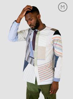 Banded Collar Shirt Stripe