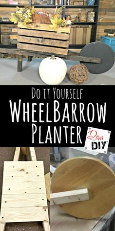 DIY planters that can be changed for the seasons! Make a wheelbarrow planter out of a wooden crate for real flowers or for Holiday Decorating! Think Fall!  http://divaofdiy.com/seasonal-wheelbarrow-planters/