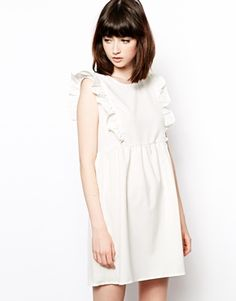 The WhitePepper Sleeveless Smock Dress with Frill Detail